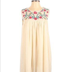 Altar'd State Embroidered Boho Natural Dress